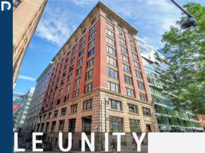 Lofts and apartment for sale and for rent at the unity building at 454 de la Gauchetiere Financial district Downtown Montreal